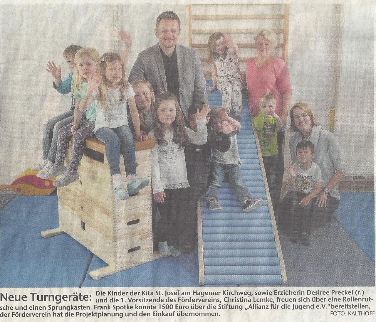 Zeitungsbericht Kindergartenspende